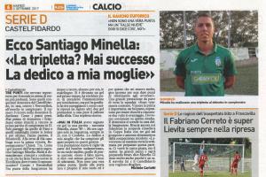 Minella-Montagnoli: la coppia del gol protagonista sulla stampa locale