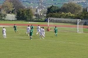 Il rigore del momentaneo 1-0 realizzato da Montagnoli.