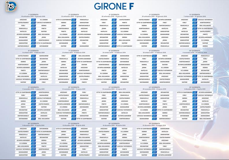 Calendario Serie A 15 Ottobre.Serie D Ecco I Calendari Castelfidardo Calcio